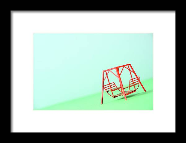 Paper Craft Framed Print featuring the photograph The Model Of The Swing Made Of The Paper by Yagi Studio