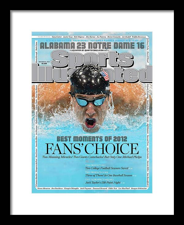 Magazine Cover Framed Print featuring the photograph The Moments Of 2012 Michael Phelps Sports Illustrated Cover by Sports Illustrated