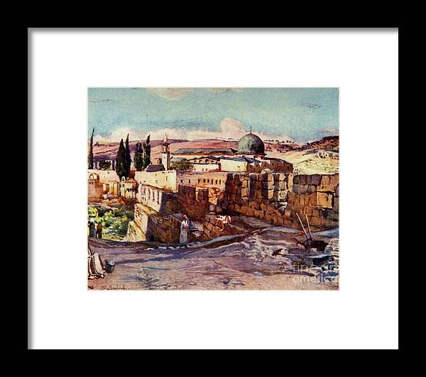 People Framed Print featuring the drawing The Mosque Of El Aksa by Print Collector