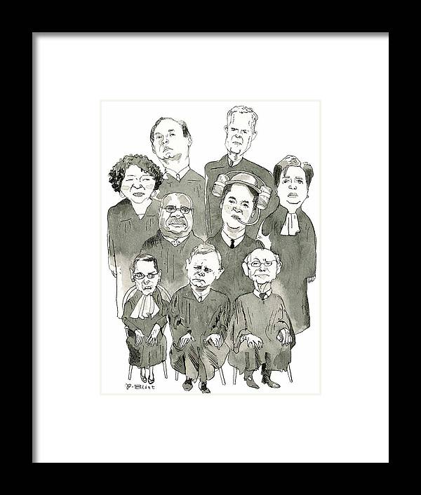 Supreme Court Framed Print featuring the drawing The New Supreme Court by Barry Blitt