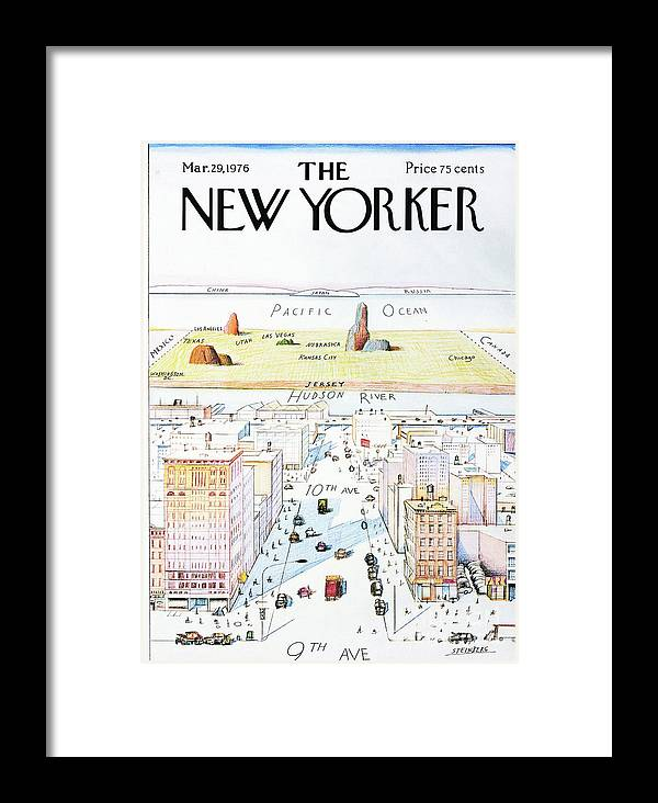 The New Yorker Framed Print featuring the painting The New Yorker - March 29, 1976 by Saul Steinberg