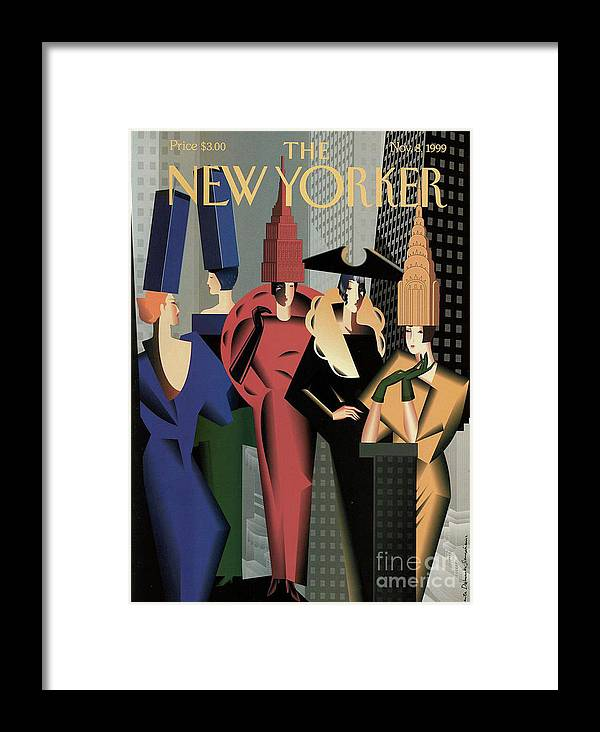The New Yorker Framed Print featuring the painting The New Yorker - November 8, 1999 by Prar Kulasekara