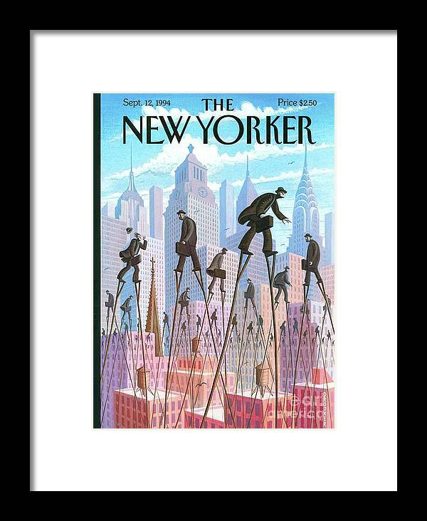 The New Yorker Framed Print featuring the painting The New Yorker - September 12, 1994 by Prar Kulasekara