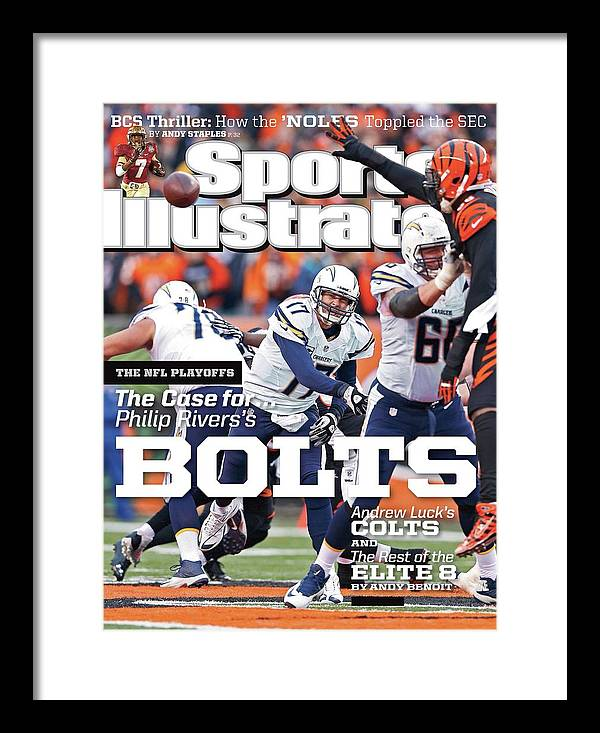Magazine Cover Framed Print featuring the photograph The Nfl Playoffs The Case For . . . Philip Rivers Bolts Sports Illustrated Cover by Sports Illustrated