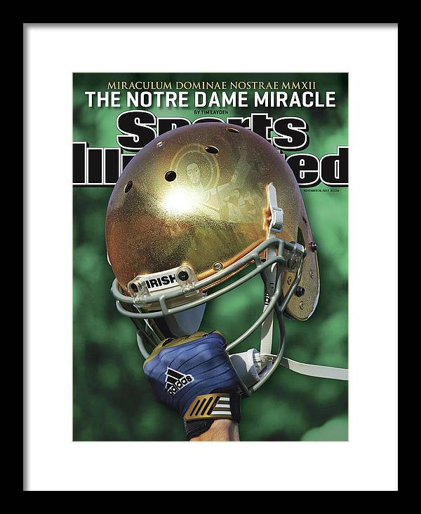 Magazine Cover Framed Print featuring the photograph The Notre Dame Miracle Sports Illustrated Cover by Sports Illustrated
