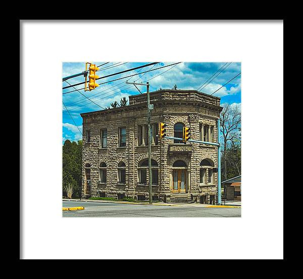 Old Banks Framed Print featuring the photograph The Old Stone Bank by Mountain Dreams