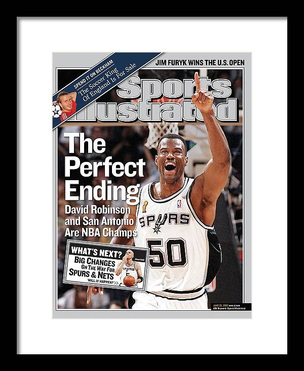 Magazine Cover Framed Print featuring the photograph The Perfect Ending David Robinson And San Antonio Are Nba Sports Illustrated Cover by Sports Illustrated