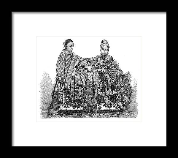 Engraving Framed Print featuring the drawing The Princess Of Bhopal, India by Print Collector