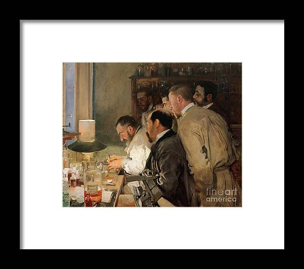 Oil Painting Framed Print featuring the drawing The Research. Artist Sorolla Y Bastida by Heritage Images