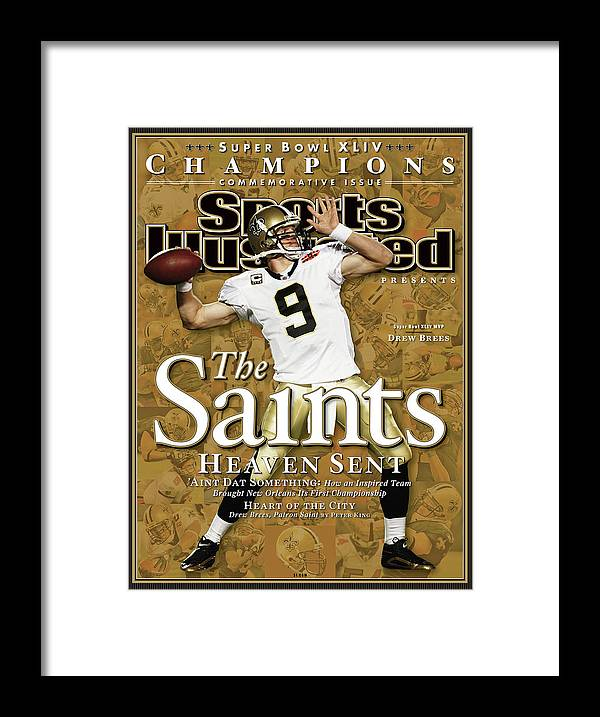 Miami Gardens Framed Print featuring the photograph The Saints, Heaven Sent Super Bowl Xliv Champions Sports Illustrated Cover by Sports Illustrated