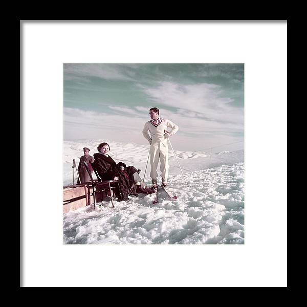 Skiing Framed Print featuring the photograph The Shah & Wife Skiing by Dmitri Kessel