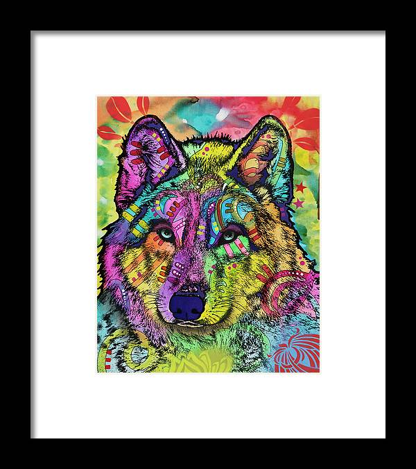 The Stare Framed Print featuring the mixed media The Stare Of The Wolf by Dean Russo- Exclusive