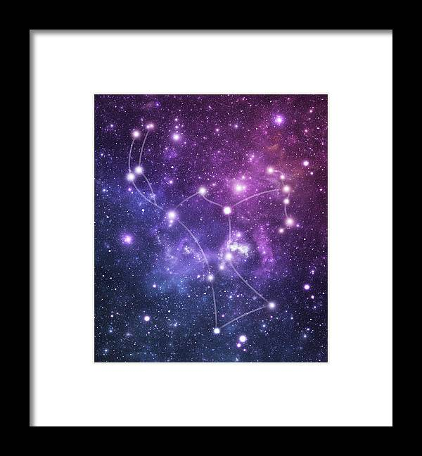 Black Color Framed Print featuring the photograph The Stars Constellation Of Orion by Sololos