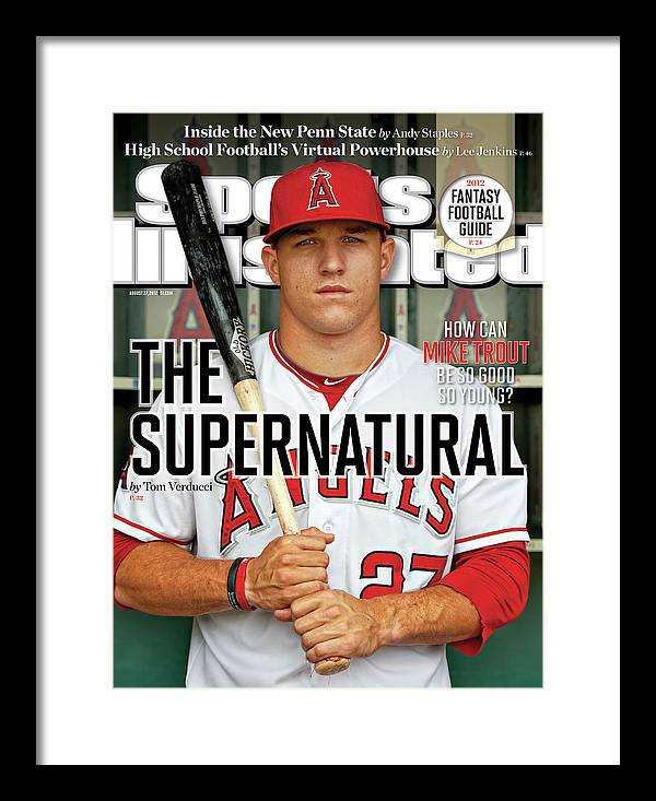 Magazine Cover Framed Print featuring the photograph The Supernatural How Can Mike Trout Be So Good So Young Sports Illustrated Cover by Sports Illustrated