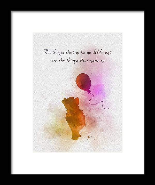 Winnie The Pooh Framed Print featuring the mixed media The things that make me different by My Inspiration