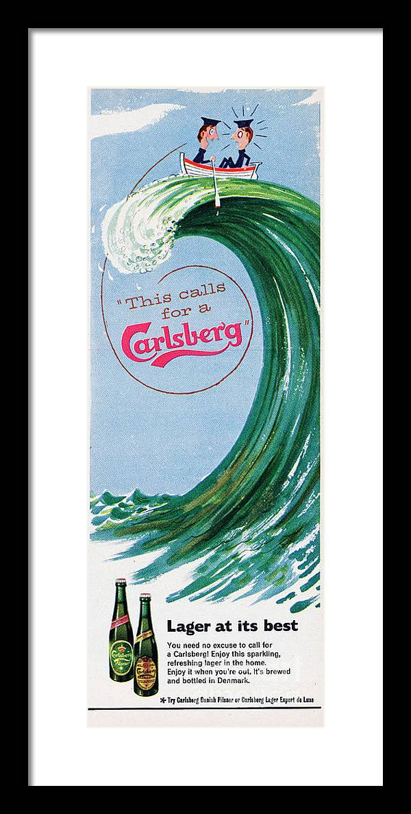 People Framed Print featuring the photograph This Calls For A Carlsberg by Picture Post