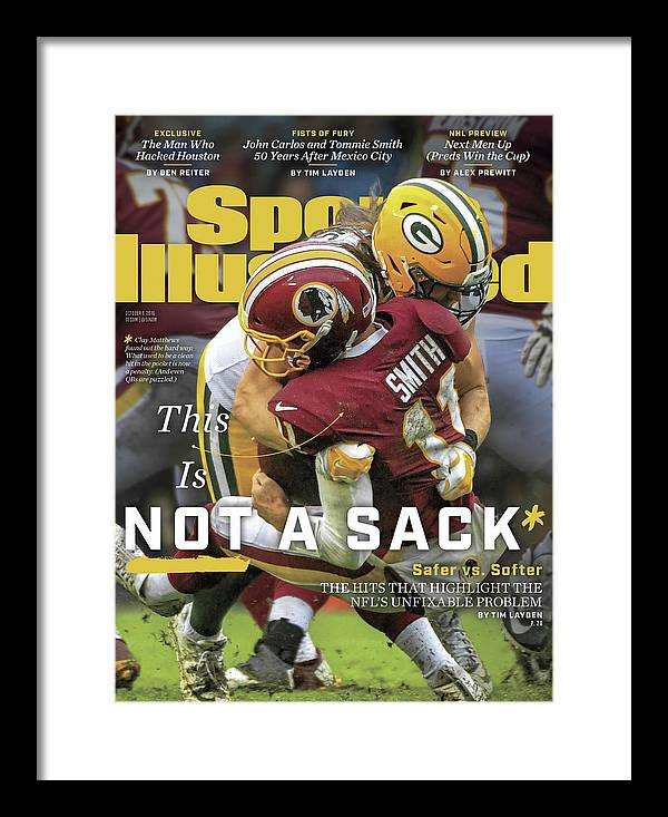 Magazine Cover Framed Print featuring the photograph This Is Not A Sack Safer Vs Softer Sports Illustrated Cover by Sports Illustrated