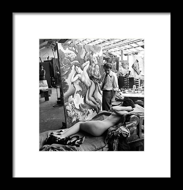 Working Framed Print featuring the photograph Thomas Hart Benton In The Studio by Alfred Eisenstaedt