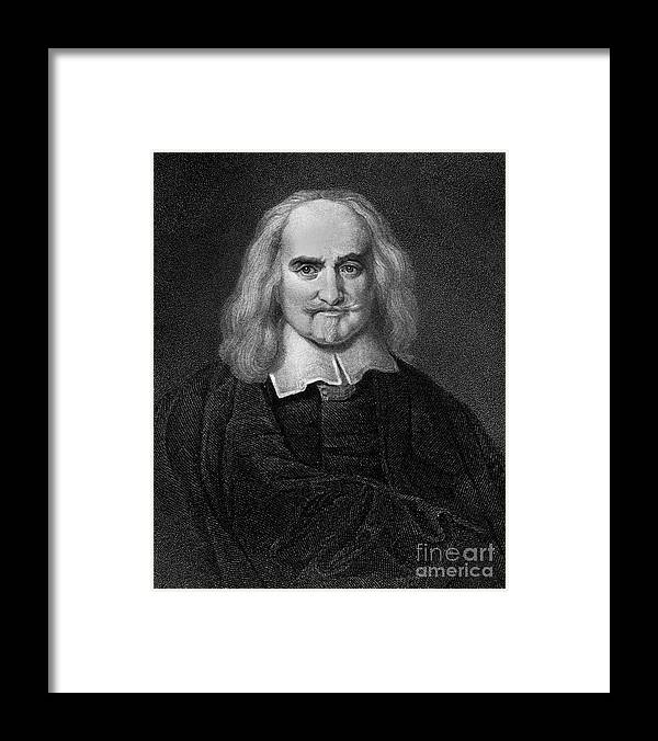 Historical Framed Print featuring the drawing Thomas Hobbes English Philosopher, Engraving by European School