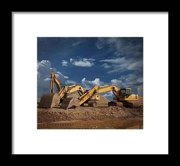 Working Framed Print featuring the photograph Three Excavators At Construction Site by Narvikk