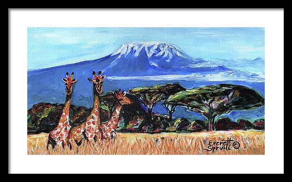 Everett Spruill Framed Print featuring the painting Three Giraffes by Everett Spruill