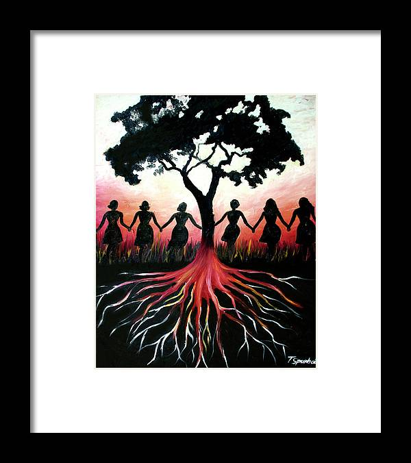 Folk Framed Print featuring the painting Thriving by PushPullArts Inc