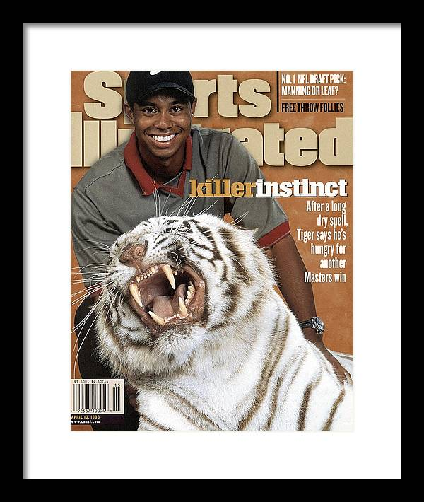Magazine Cover Framed Print featuring the photograph Tiger Woods, 1998 Masters Preview Sports Illustrated Cover by Sports Illustrated