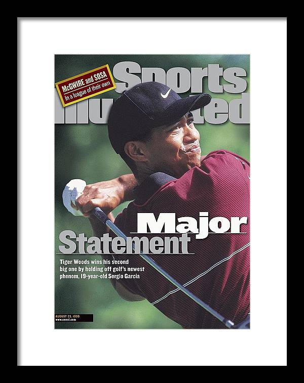 Magazine Cover Framed Print featuring the photograph Tiger Woods, 1999 Pga Championship Sports Illustrated Cover by Sports Illustrated