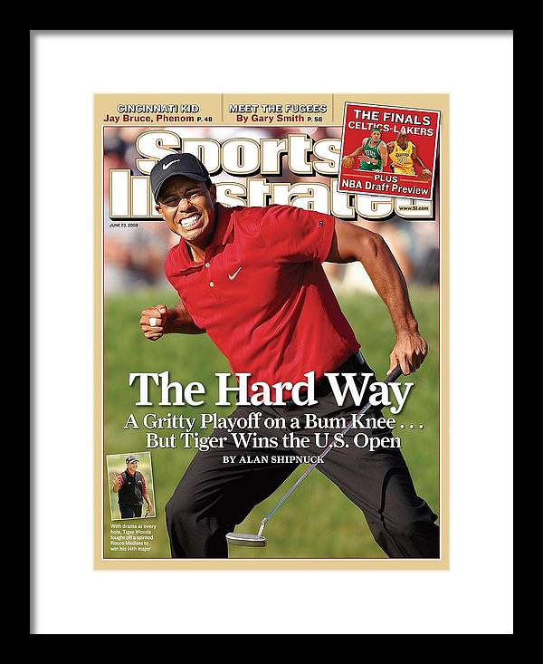 Magazine Cover Framed Print featuring the photograph Tiger Woods, 2008 Us Open Sports Illustrated Cover by Sports Illustrated