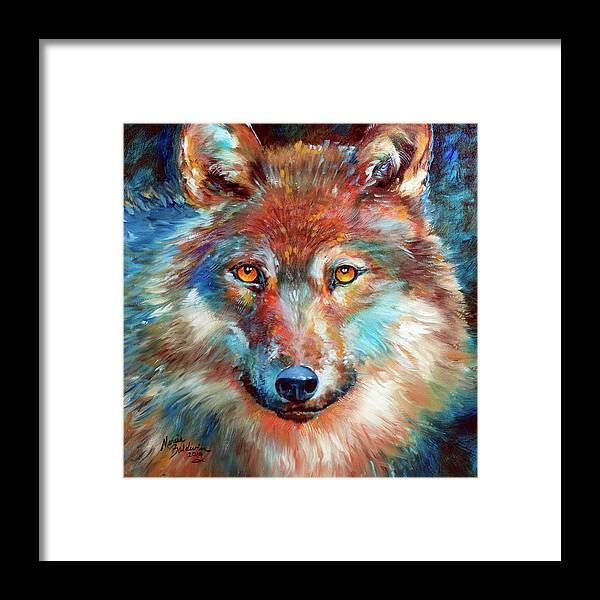 Timber Wolf Framed Print featuring the painting Timber Wolf Abstract by Marcia Baldwin