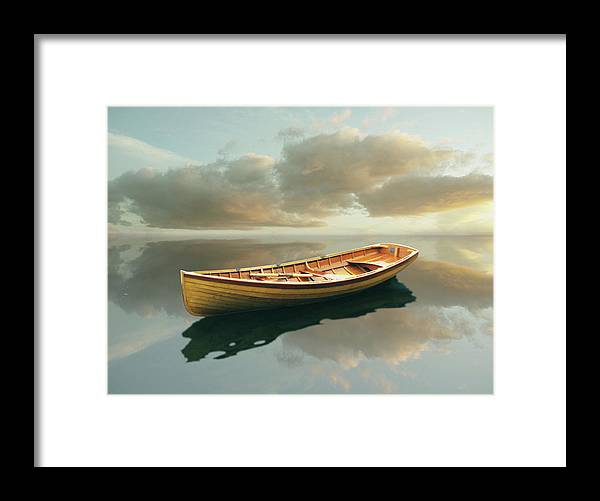 Canoe Framed Print featuring the painting Time Out 13 by Carlos Casamayor