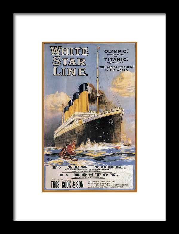 Titanic Advertising Poster Framed Print featuring the photograph Titanic Advertising Poster by Jon Neidert
