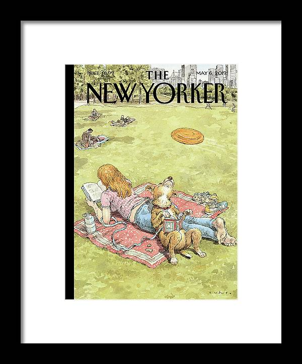 To Fetch Or Not To Fetch Framed Print featuring the painting To Fetch Or Not To Fetch by John Cuneo