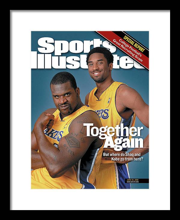 Nba Pro Basketball Framed Print featuring the photograph Together Again But Where Do Shaq And Kobe Go From Here Sports Illustrated Cover by Sports Illustrated