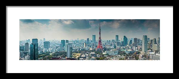 Tokyo Tower Framed Print featuring the photograph Tokyo Tower Futuristic Skyscraper by Fotovoyager