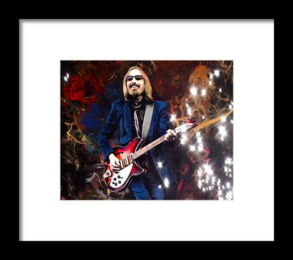 Tom Petty Framed Print featuring the digital art Tom Petty Portrait by Scott Wallace Digital Designs