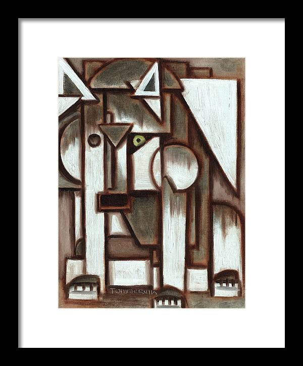 Wolf Framed Print featuring the painting Tommervik Geometric Gray Abstract Wolf Art Print by Tommervik