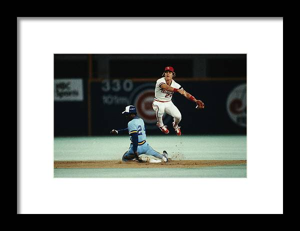 St. Louis Cardinals Framed Print featuring the photograph Tommy Herr Making Double Play by Bettmann