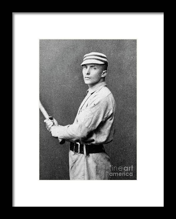 People Framed Print featuring the photograph Tommy Mccarthy With Bat by Transcendental Graphics