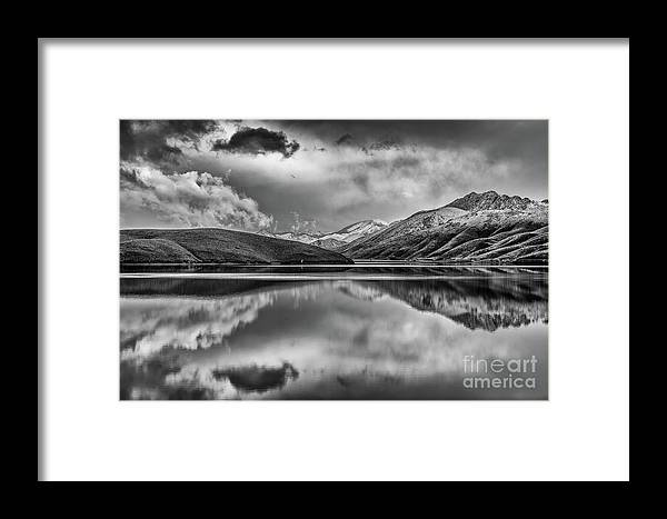 Topaz Lake Framed Print featuring the photograph Topaz Lake Winter Reflection, Black And White by Jeff Sullivan