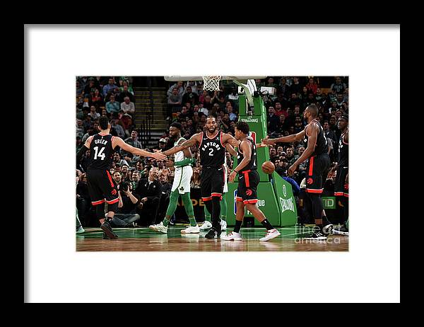 Nba Pro Basketball Framed Print featuring the photograph Toronto Raptors V Boston Celtics by Brian Babineau