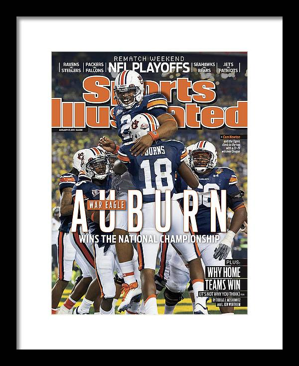 Magazine Cover Framed Print featuring the photograph Tostitos Bcs National Championship Game - Oregon V Auburn Sports Illustrated Cover by Sports Illustrated