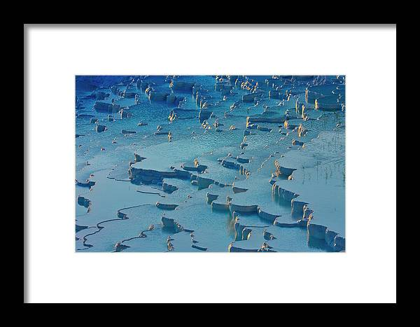 Agua Framed Print featuring the photograph Tourist On Travertine Terraces by Keren Su