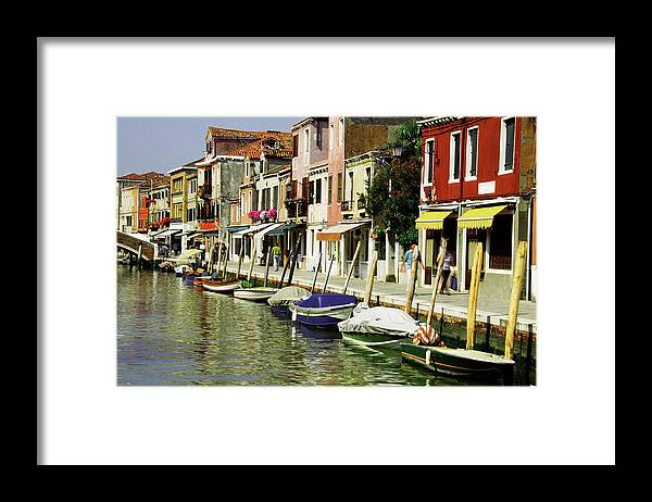 Row House Framed Print featuring the photograph Tourists Along A Canal, Murano, Venice by Medioimages/photodisc