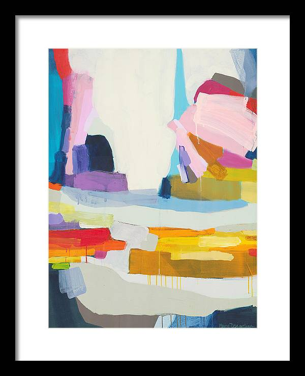 Abstract Framed Print featuring the painting Towards The Ocean by Claire Desjardins