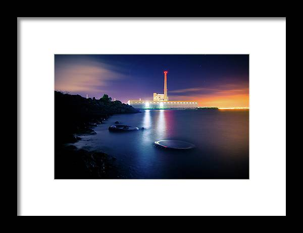 Industrial District Framed Print featuring the photograph Toxic Beach With Power Plant by Hal Bergman