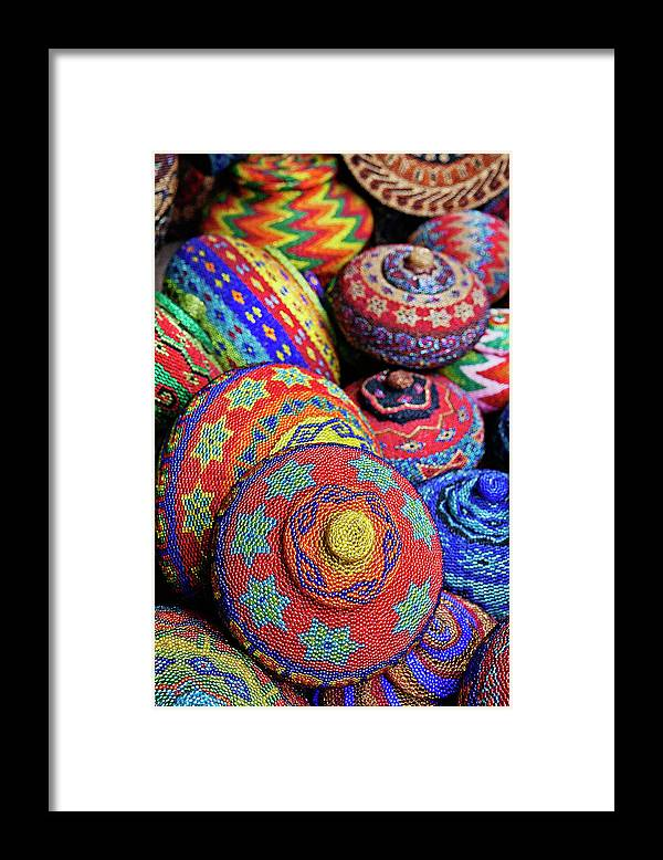Large Group Of Objects Framed Print featuring the photograph Traditional Colorful Baskets,bali by John W Banagan