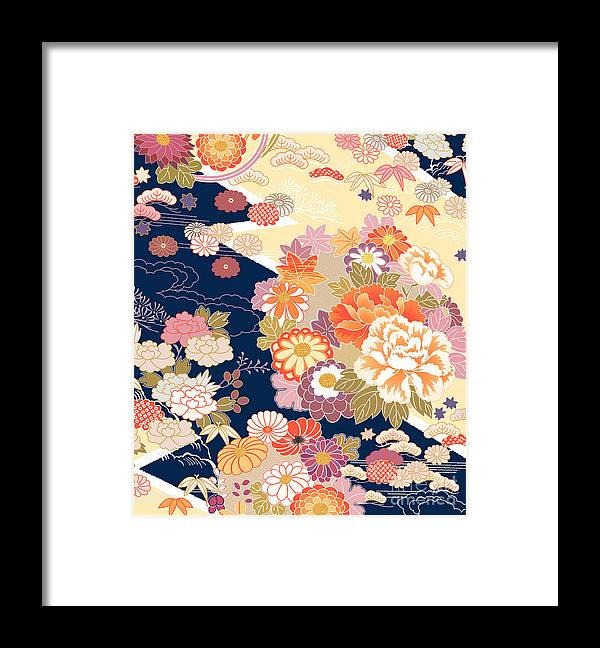 Cherry Framed Print featuring the digital art Traditional Kimono Motifs by Malamalama