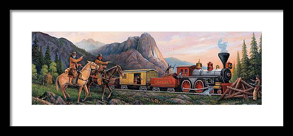 Train Robbery Panoramic Framed Print featuring the painting Train Robbery Panoramic by John Zaccheo