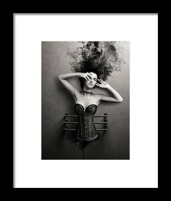 Woman Framed Print featuring the photograph Trapped by Johan Swanepoel
